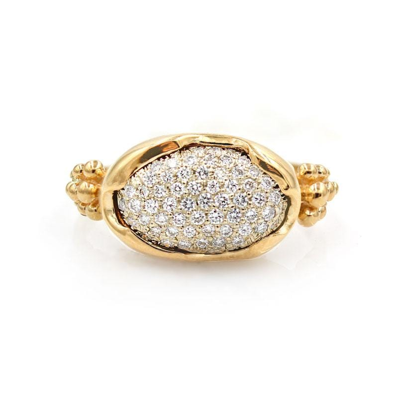 Crested Pavé Diamond Bezel Ring