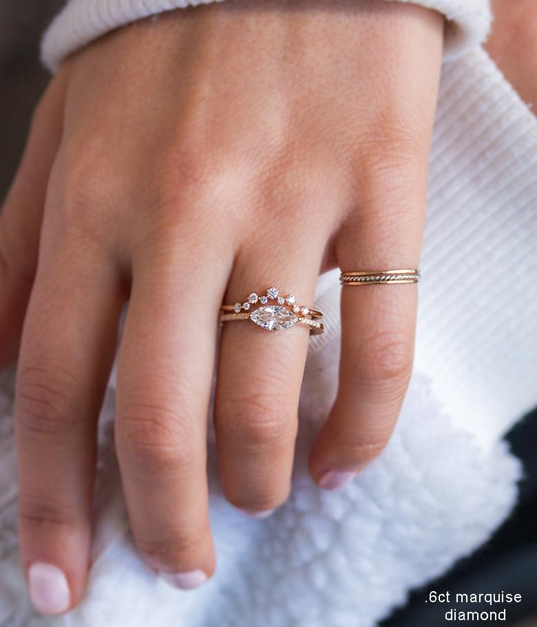 Diamond Cluster Arch Ring