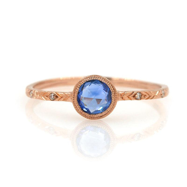 Round Rose Cut Sapphire Ring