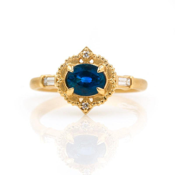 18k Deep Blue Oval Sapphire Ring - LoveAudryRose.com
