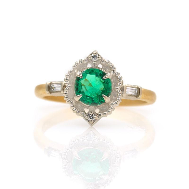 18k Two Toned Round Emerald Ring