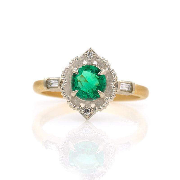 18k Two Toned Round Emerald Ring*** - LoveAudryRose.com