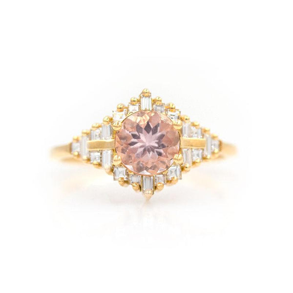 Morganite Diamond Baguette Ring