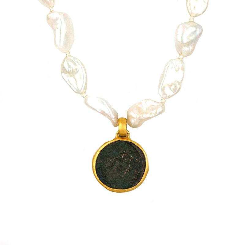 Keshi Pearl Coin Necklace