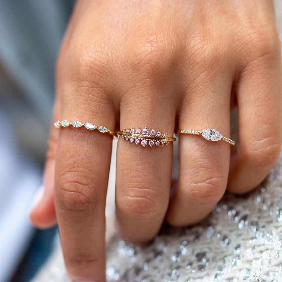 East-West Marquise Diamond with Pave