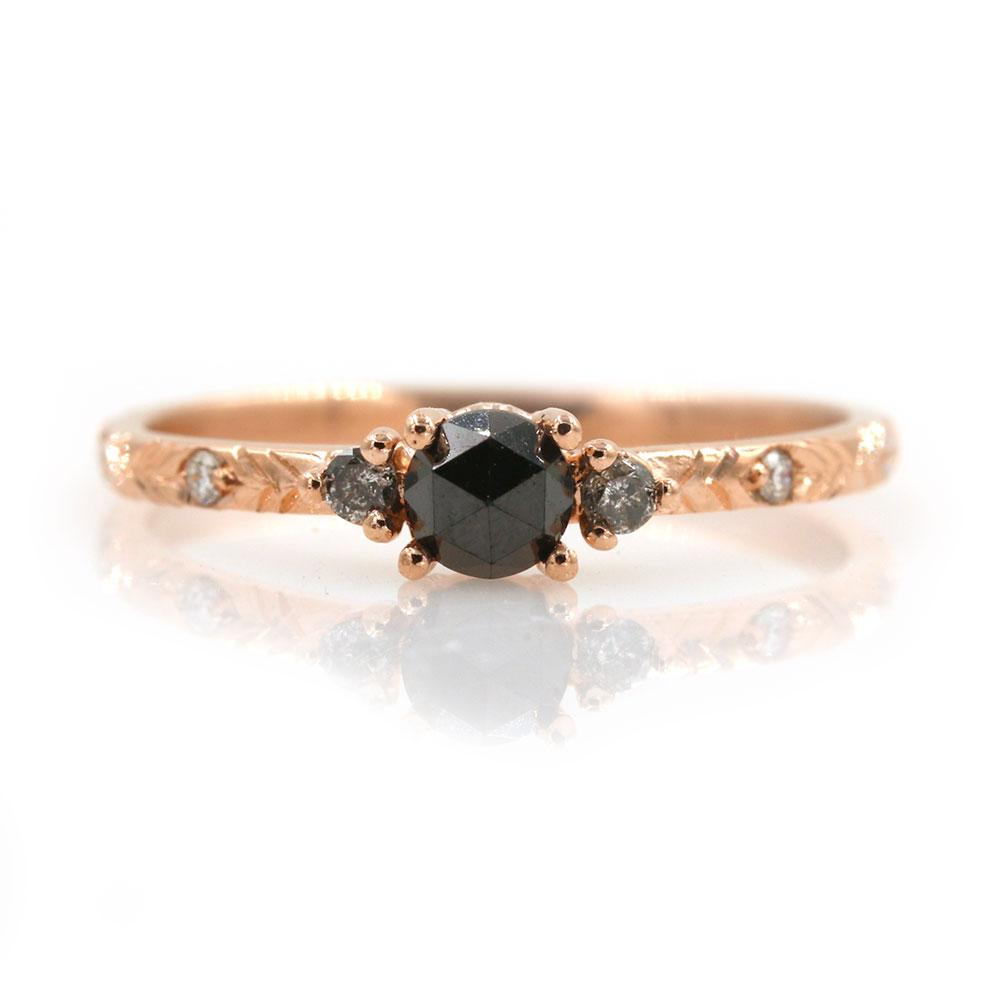 Black and Grey Diamond Trio Ring - LoveAudryRose.com