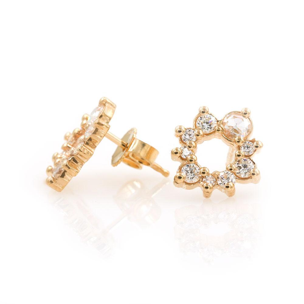 Diamond Cluster Wreath Studs