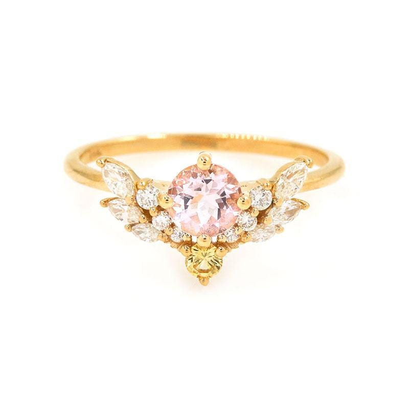 Morganite Yellow Sapphire Diamond Wing Ring