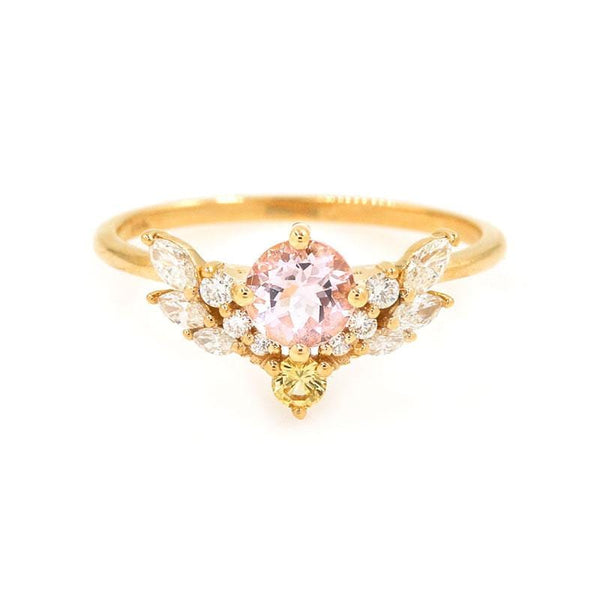 Morganite Yellow Sapphire Diamond Wing Ring - LoveAudryRose.com