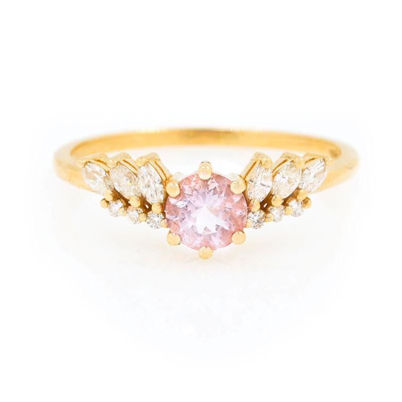 Morganite Diamond Wing Ring