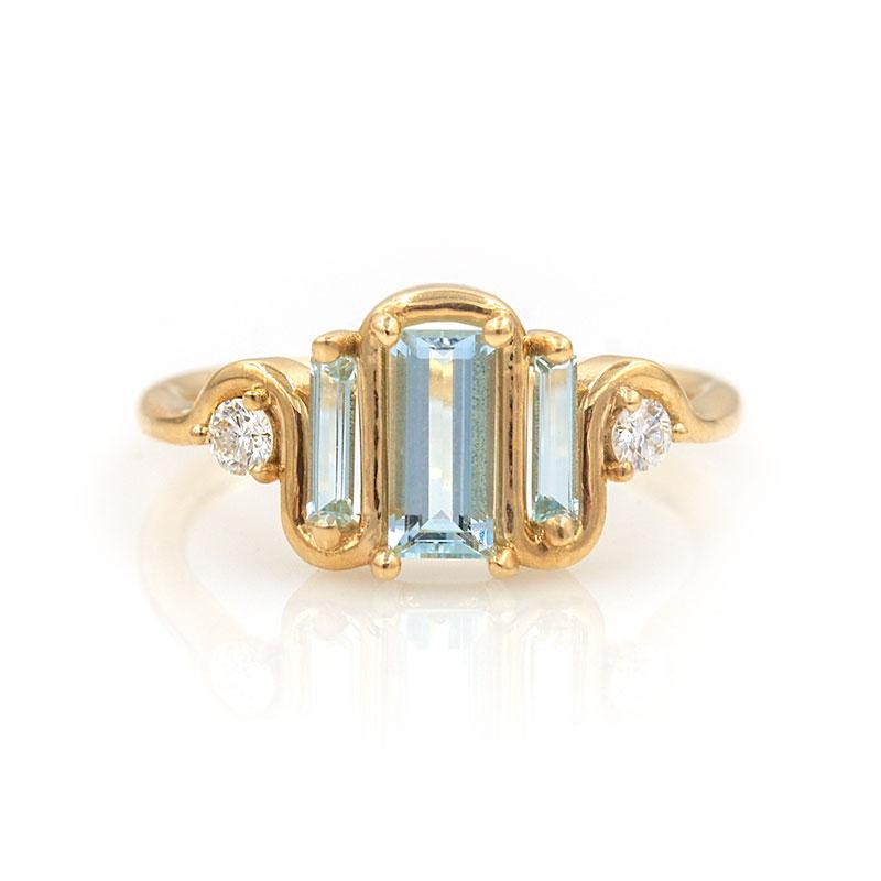 Nouveau Aquamarine Diamond Baguette Ring