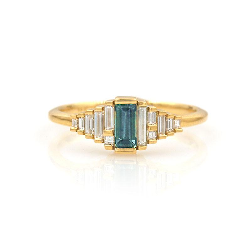 Teal Sapphire Deco Ring