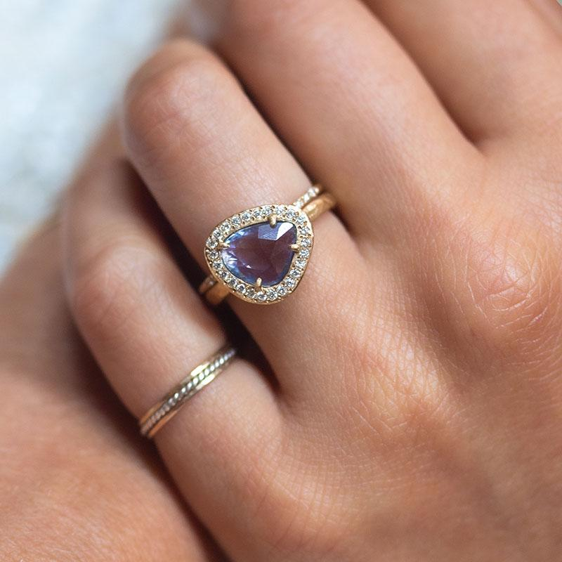 18k Rose Cut Blue Sapphire Diamond Halo Ring