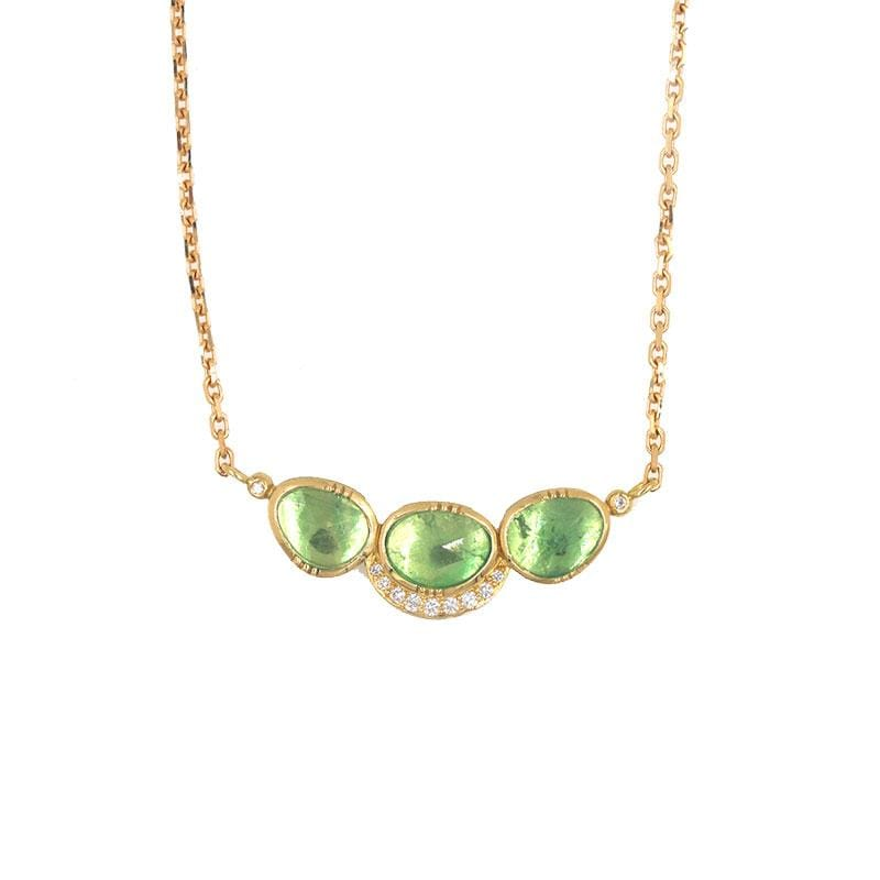 18k Triple Emerald Orbit Halo Necklace