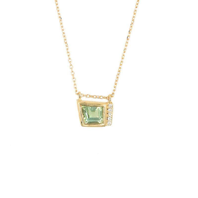 Green Tourmaline with Pave Necklace