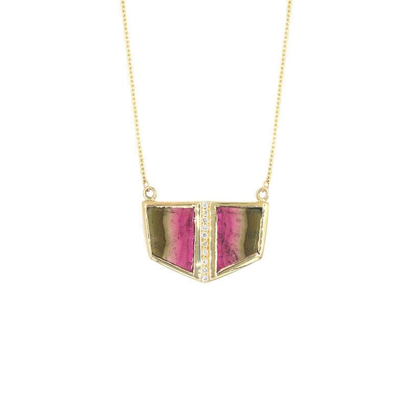 Watermelon Tourmaline Duo Necklace
