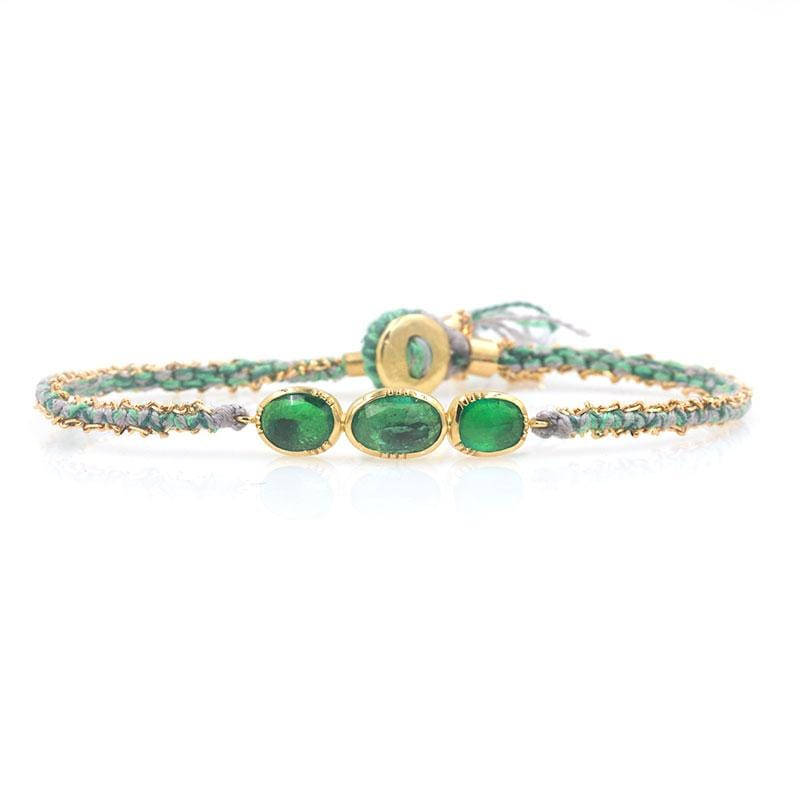 Triple Orbit Emerald Woven Bracelet
