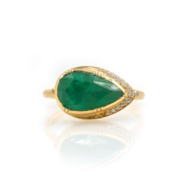 18k Emerald Ellipse Halo Ring - LoveAudryRose.com