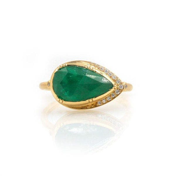 18k Emerald Ellipse Halo Ring