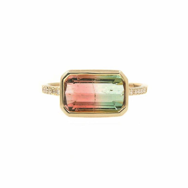 Emerald Cut Tourmaline Ring with Pave