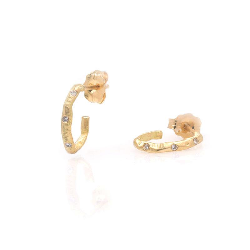 18k Diamond Textured Mini Hoops