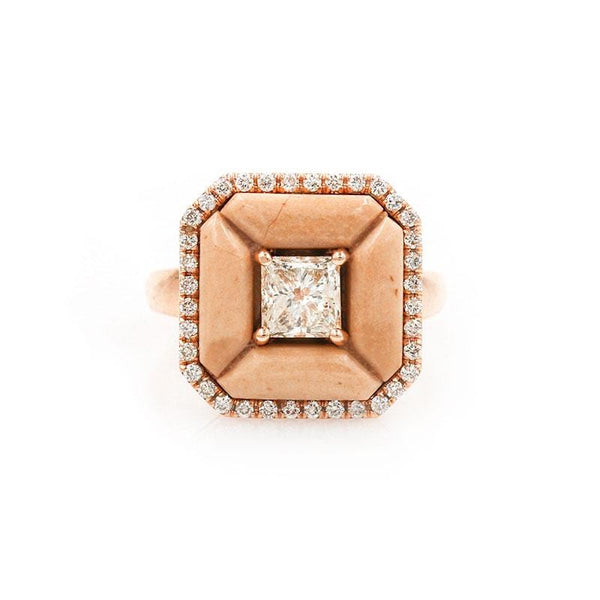Diamond and Pink Marble Ring