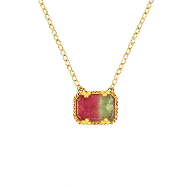 18k Watermelon Tourmaline Necklace