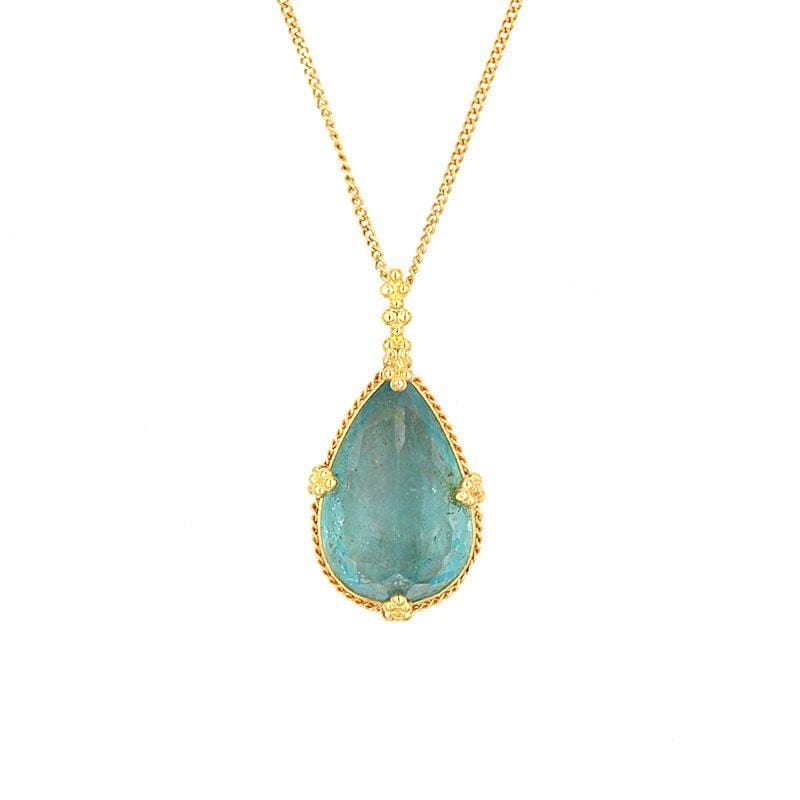 18k Drop of the Pacific Aquamarine Necklace