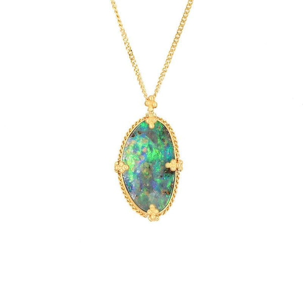 18k Breath of the Forest Opal Necklace