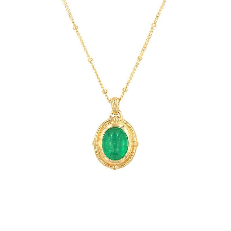 Golden Oval Emerald Necklace