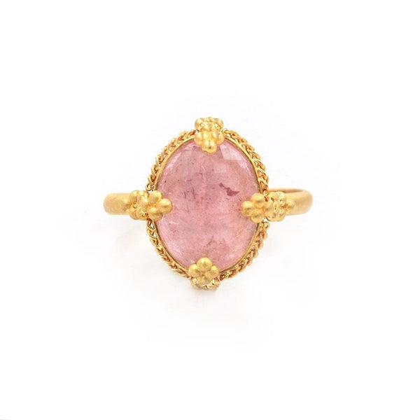 18k Blushing Oval Morganite Ring