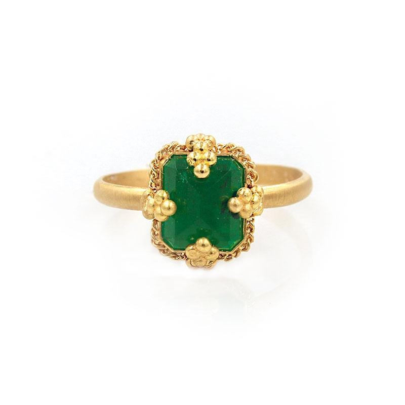 18k Charmed Emerald Ring