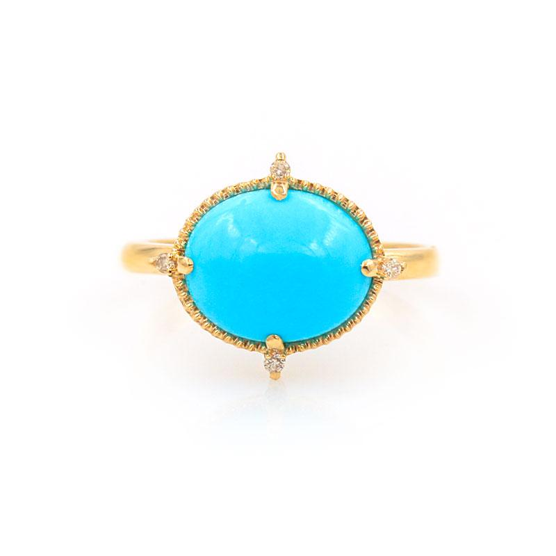 Oval Turquoise Diamond Ring