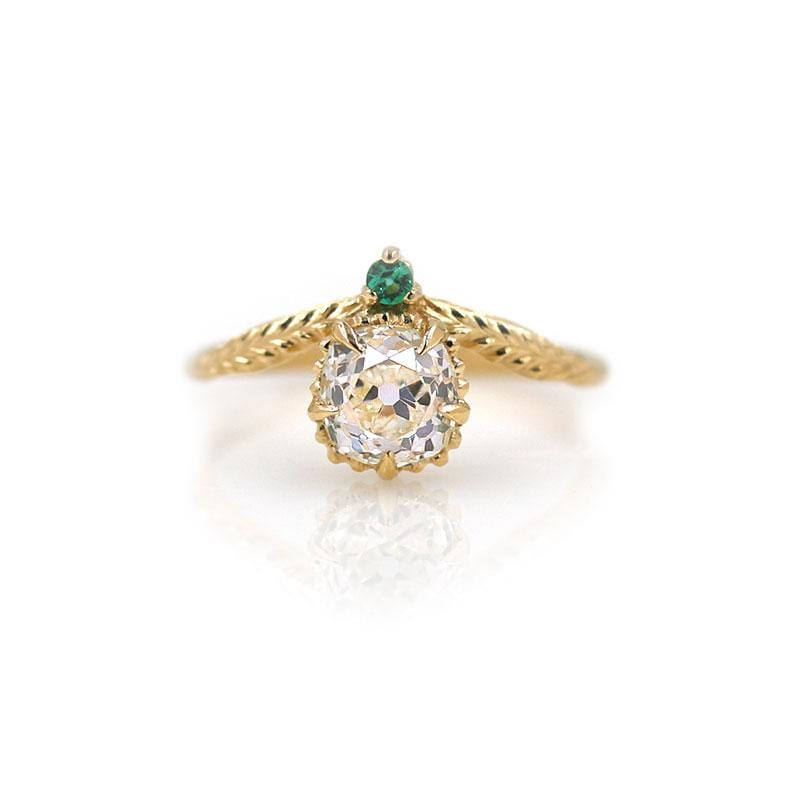 18k Diamond Emerald Tulip Ring
