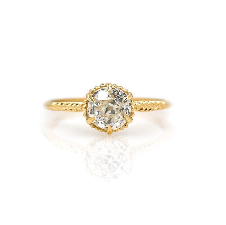 18k Round Antique Cut Diamond Ring - LoveAudryRose.com