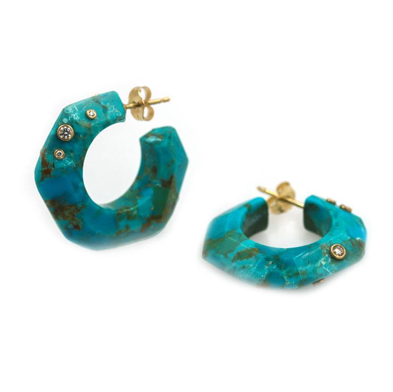 Turquoise Gemstone Statement Hoops - LoveAudryRose.com