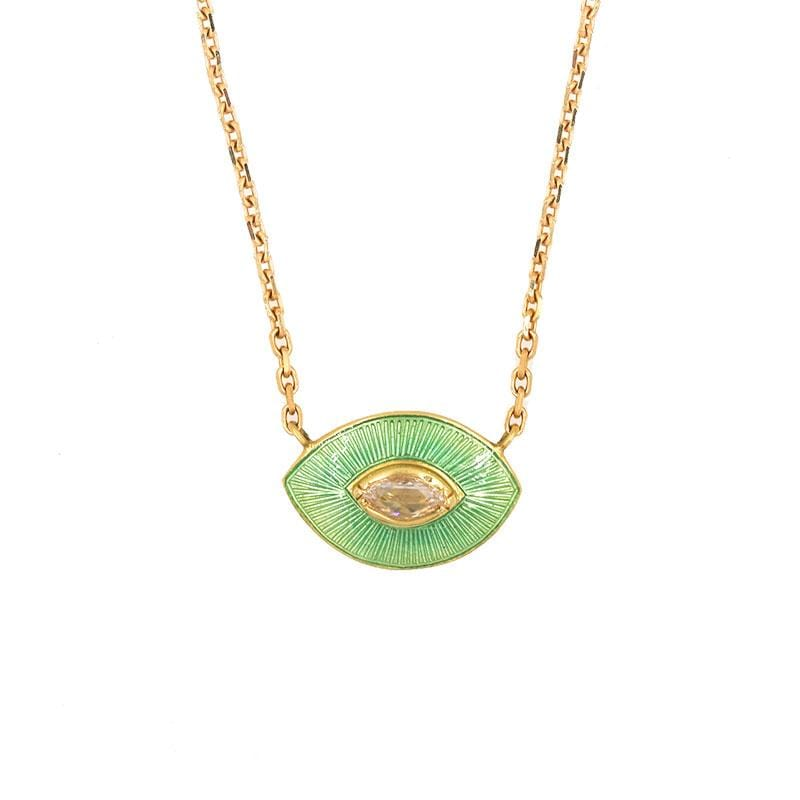 18k Sage Enamel Diamond Eye Necklace