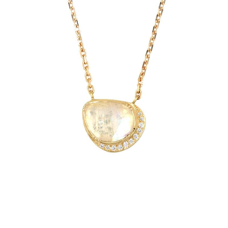 18k Moonstone Orbit Halo Necklace