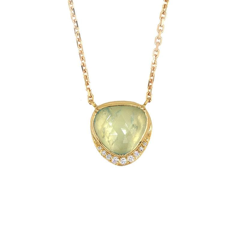 18k Aquamarine Orbit Halo Necklace