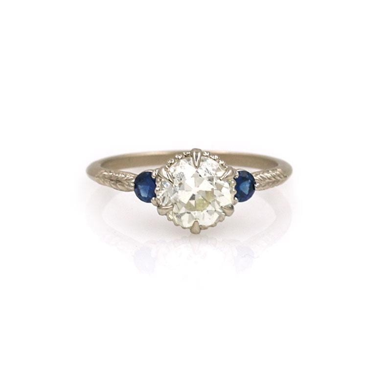 18k Antique Diamond Sapphire Ring