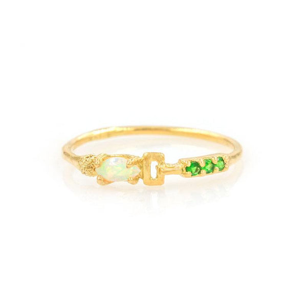 Linked Opal Tsavorite Ring