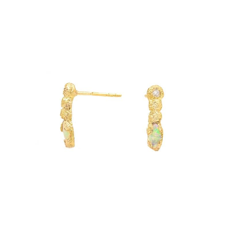 Trail of Light Opal Diamond Studs