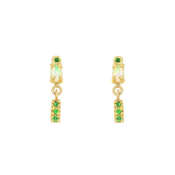 Linked Opal Tsavorite Dangle Earrings