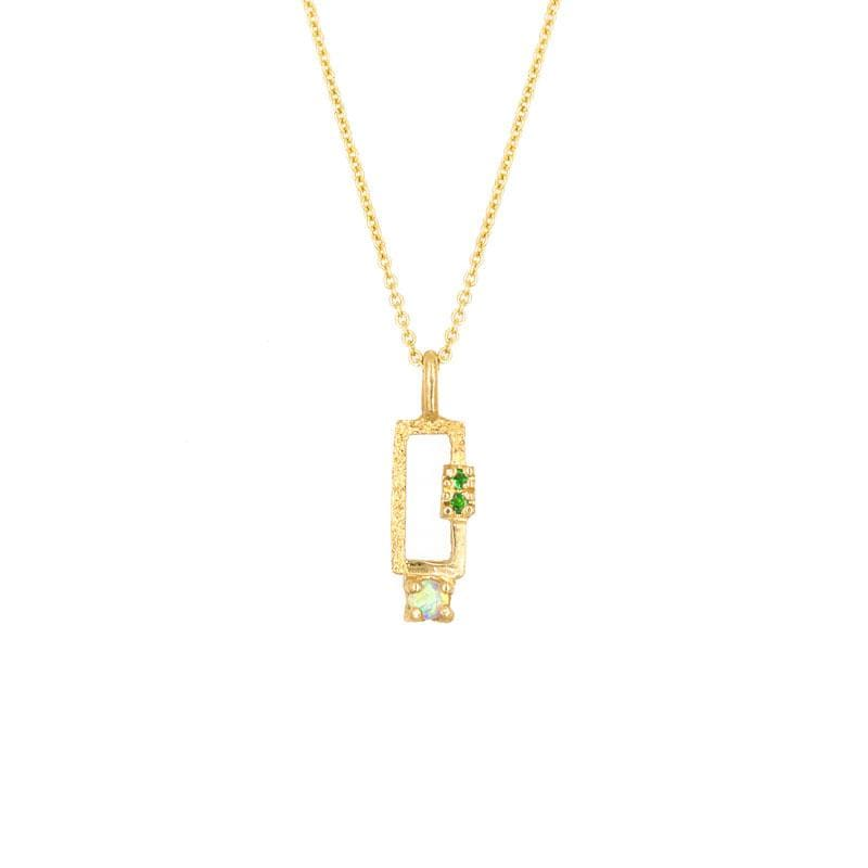 Opal Tsavorite Rectangle Necklace