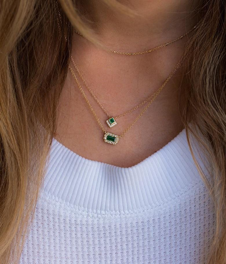 18k Emerald Baguette Picture Frame Necklace