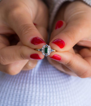 18k Two Toned Emerald, Sapphire & Diamond Ring