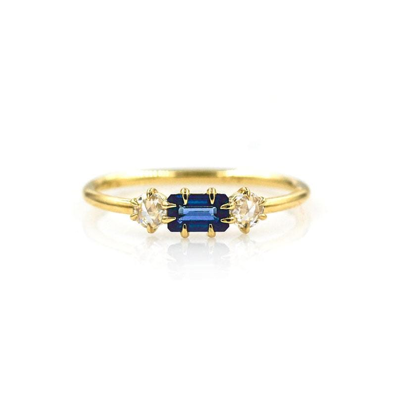 Prong Set Sapphire with Side Diamonds