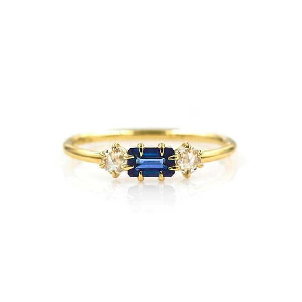 Prong Set Sapphire with Side Diamonds***