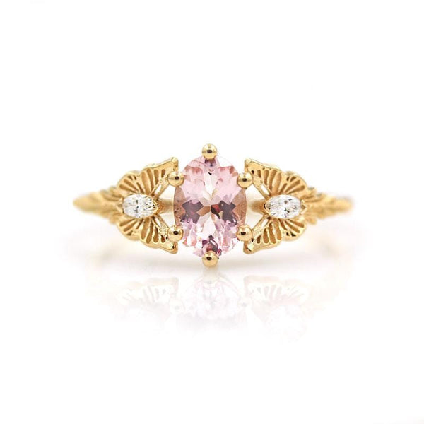 Morganite Diamond Butterfly Ring