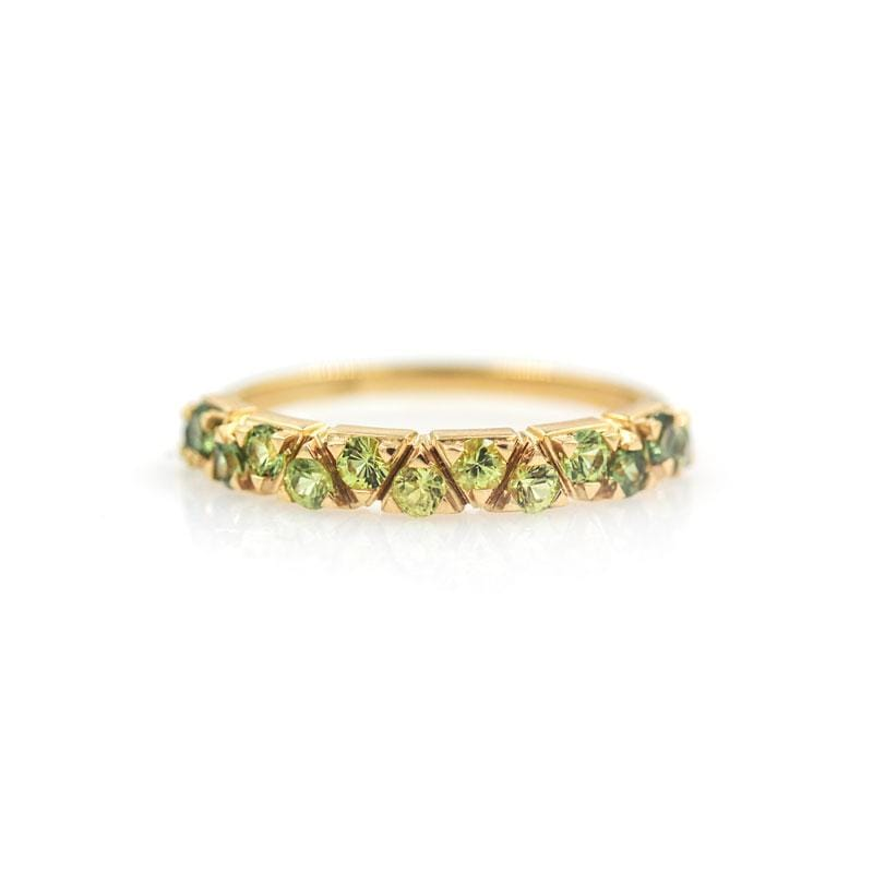Green Sapphire Ombre Triangle Band